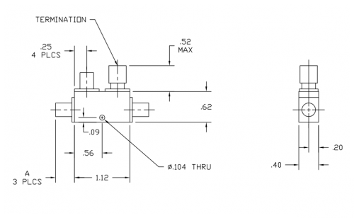 Directional Coupler 184020 Outline Drawing