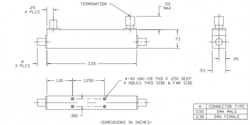 Directional Coupler 101020020 Outline Drawing