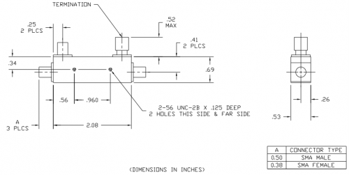 Directional Coupler 102020010 Outline Drawing