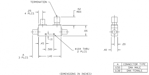 Directional Coupler 104020020 Outline Drawing