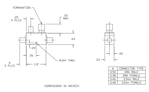 Directional Coupler 262220 Outline Drawing