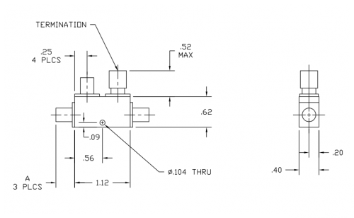 Directional Coupler 264020K Outline Drawing