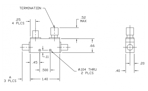 Directional Coupler 120406 Outline Drawing