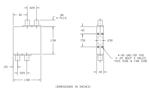 4060265 180 Deg Hybrid Coupler Outline Drawing