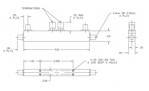 Dual Directional Coupler 501040010 Outline Drawing