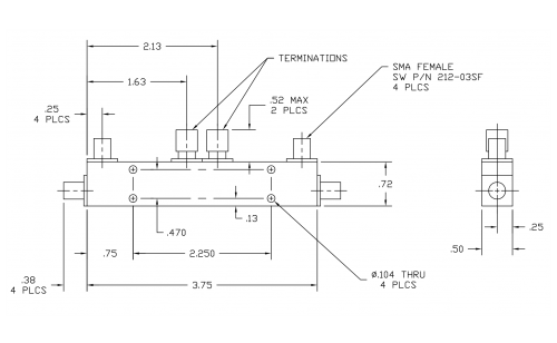 Dual Directional Coupler 501818 Outline Drawing