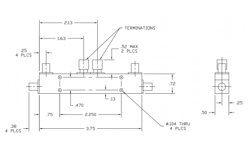 Dual Directional Coupler 501822 Outline Drawing