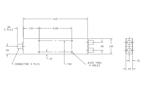 6010400 2-Way Power Divider Outline Drawing