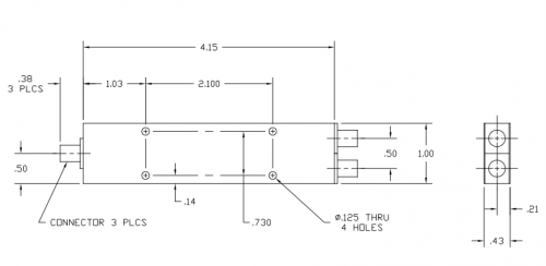 6010400K 2-Way Power Divider Outline Drawing