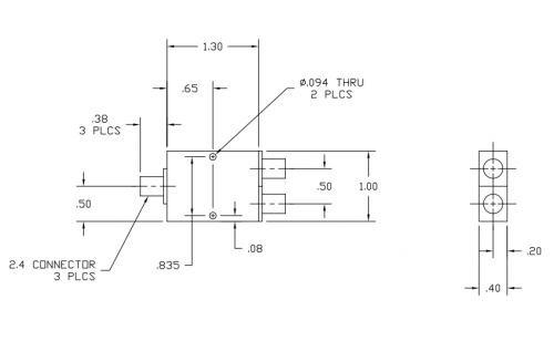 6030400 2-Way Power Divider Outline Drawing