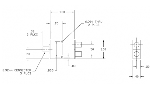 6030400K 2-Way Power Divider Outline Drawing