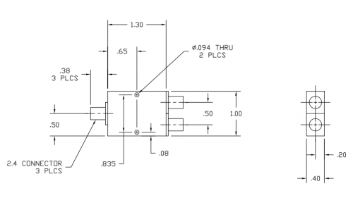 6030450 2-Way Power Divider Outline Drawing