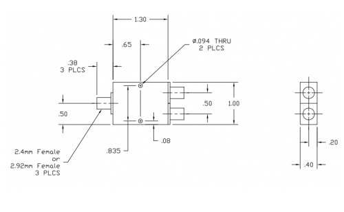 6265400 2-Way Power Divider Outline Drawing