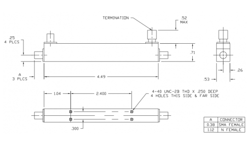 Directional Coupler 152006 Outline Drawing