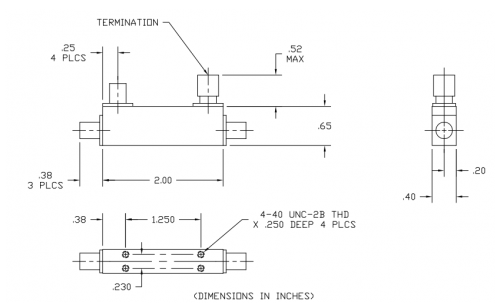 Thermal Vac Qualified Directional Coupler 101040010-TV Outline Drawing