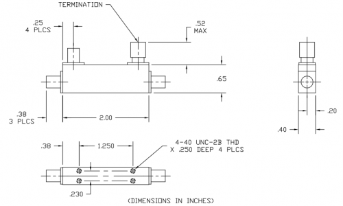Space Qualified Directional Coupler 101040010K-SQ Outline Drawing