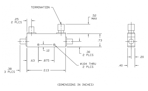 Thermal Vac Qualified Directional Coupler 102008616-TV Outline Drawing