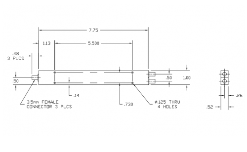 Space Qualified 2-Way Power Divider 6005265-SQ Outline Drawing