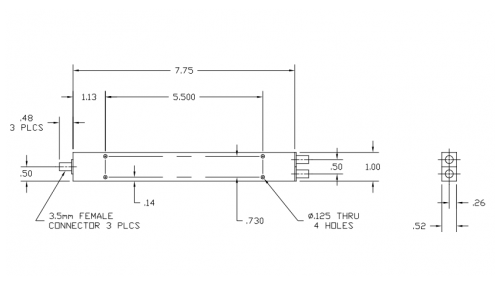 Thermal Vac Qualified 2-Way Power Divider 6005265-TV Outline Drawing