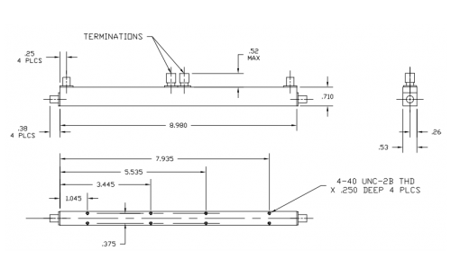 Dual Directional Coupler 500520020 Outline Drawing