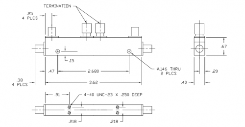 Dual Directional Coupler 502008020 Outline Drawing