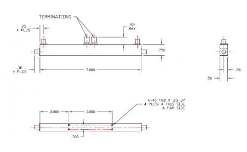 Dual Directional Coupler 501004020 Outline Drawing