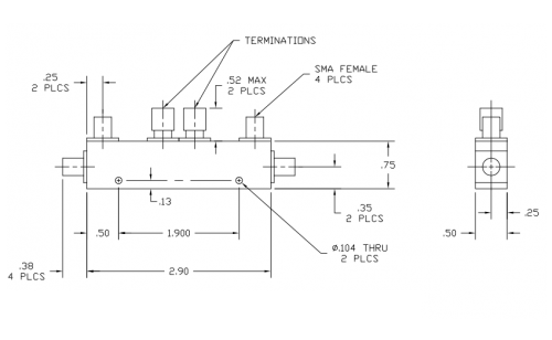 Dual Directional Coupler 504020020 Outline Drawing
