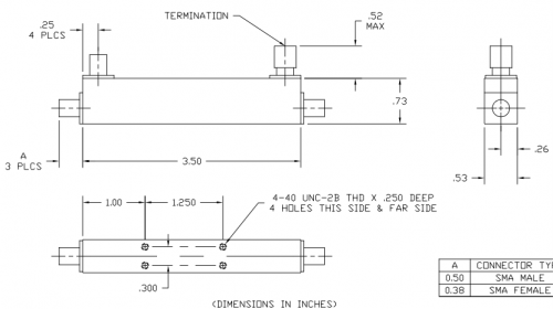 Directional Coupler 101016020 Outline Drawing