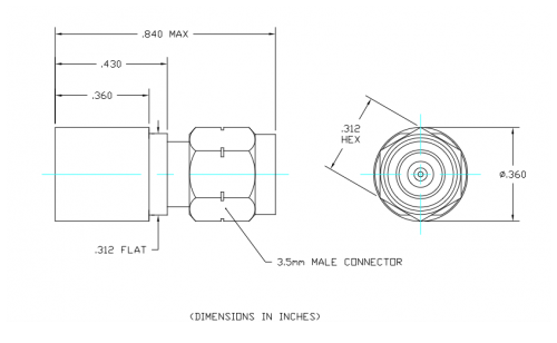 Space Qualified Coaxial Termination  T1M-SQ Outline Drawing