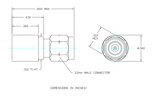 Space Qualified Coaxial Termination  T1M-TV Outline Drawing