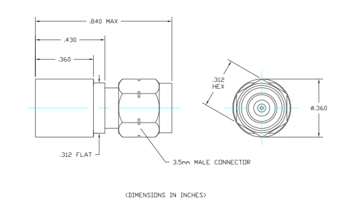 Space Qualified Coaxial Termination  T2M-SQ Outline Drawing