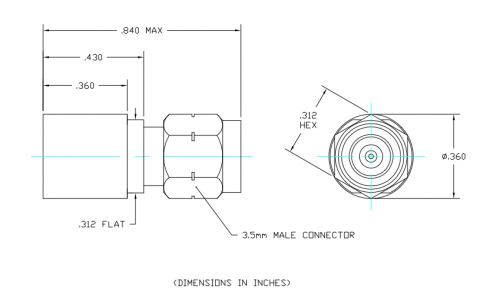 Space Qualified Coaxial Termination  T2M-TV Outline Drawing