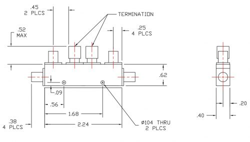 Dual Directional Coupler 510050010 Outline Drawing